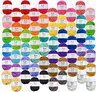 Mira Handcrafts 60 Yarn Bonbons – Total of 1312 Yard Acrylic Yarn for Knitting and Crochet - Yarn Bag for Storage and Acce...