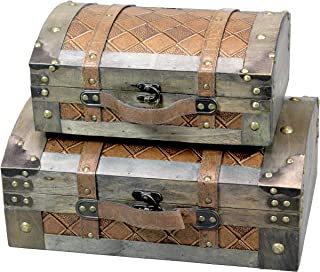 Set of 2 Vintage Suitcase Style Leather Chests