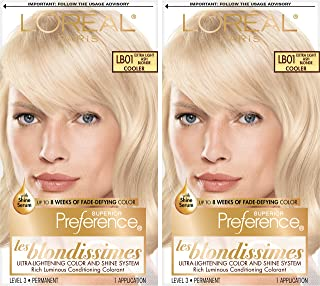 L'Oréal Paris Superior Preference Fade-Defying + Shine Permanent Hair Color, LB01 Extra Light Ash Blonde, 2 COUNT Hair Dye