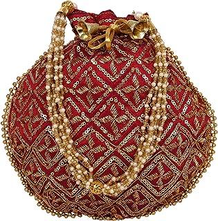 Indische ethnische Star-Arbeit Gold bestickte Handtasche Potli-Tasche Potli-Tasche Batwa-Perlen Griff Geldbörse Clutch für...