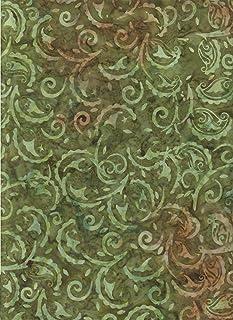 "Dill Green Floral Gypsy Paisley Batik ~ Half Yard!! ~ Java Block Printed (Tjap Stamped) Scrollwork, Rosemaling Bali Tie Dye (Ikat) Batik ~ Quilt 100% Cotton 44"" Wide ~ Batavian 22100"