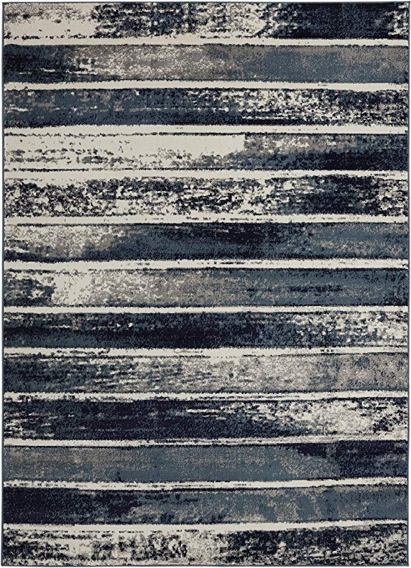8 X 10 Area Rug Bergen Home D Cor Contemporary Modern Geometric Stripes Design Area Rug 94 W X 118 L Ivory Navy Teal UNQ8015