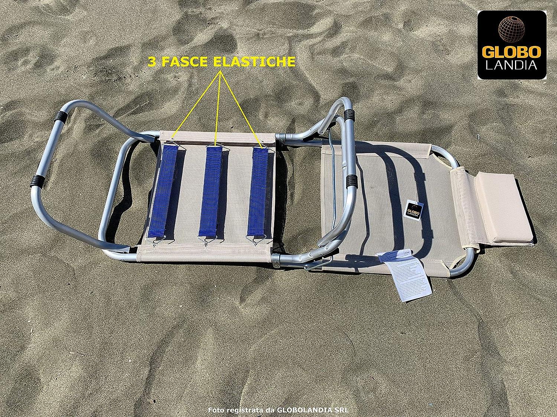 GLOBOLANDIA SRL Spiaggina a 3 Posizioni in Alluminio e Textilene 685974 con Cuscino, 3 Cinghie Elastiche Ecru