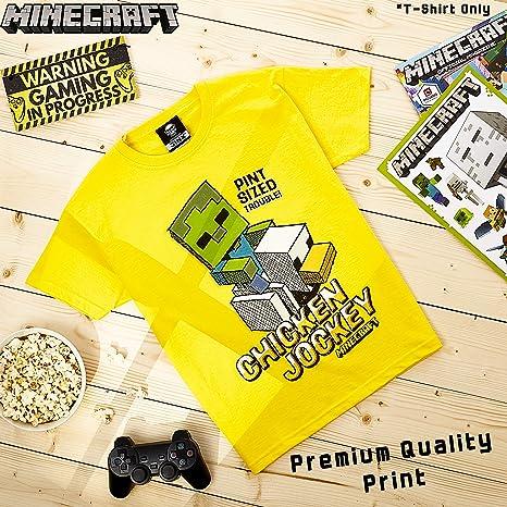 Minecraft Camiseta Niño, Ropa Niño Algodón 100%, Camisetas de Manga Corta con Diseño Chicken Jockey, Merchandising Oficial, Regalos para Niños y ...