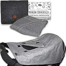 MAHEWA Premium Sonnensegel für Kinderwagen mit UV Schutz 50 Sonnenschutz und Regenschutz universal Passform für Kinder-Buggy und Babywanne Wasserdicht und Verstellbar Sonnendach Grau