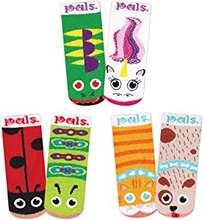 Lil Besties 3 Pair Mismatched Animal Pals Sock Gift Box for Baby Shower Boys Girls Baby Infants with Nonskid No Slip Grips (6-12 Months)
