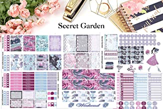 Secret Garden, Planner Calendar Sticker Kit 6 sheets on matte. Erin Corndren and Happy Planner sizes. Kiss cut, just peel and stick.