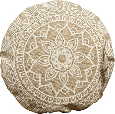 The Mandala Floor Cushion, Layered Roundels, Beige and White, Woven Polyester with Cotton Cover, Polyester Fill, Over 1 Ft. D