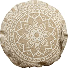The Mandala Floor Cushion, Layered Roundels, Beige and White, Woven Polyester with Cotton Cover, Polyester Fill, Over 1 Ft. Diameter (22 Inches), Moon Blossom Lotus, the Boho Chic Collection