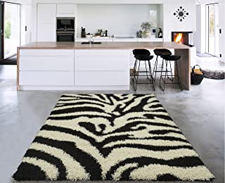 Sweet Home Stores Cozy Shag Collection Black and White Zebra Design Shag Rug (5'0