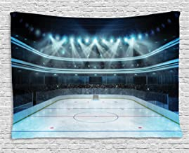 Ambesonne Hockey Tapestry, Photo of a Sports Arena Full of People Fans Audience Tournament Championship Match, Wide Wall Hanging for Bedroom Living Room Dorm, 60