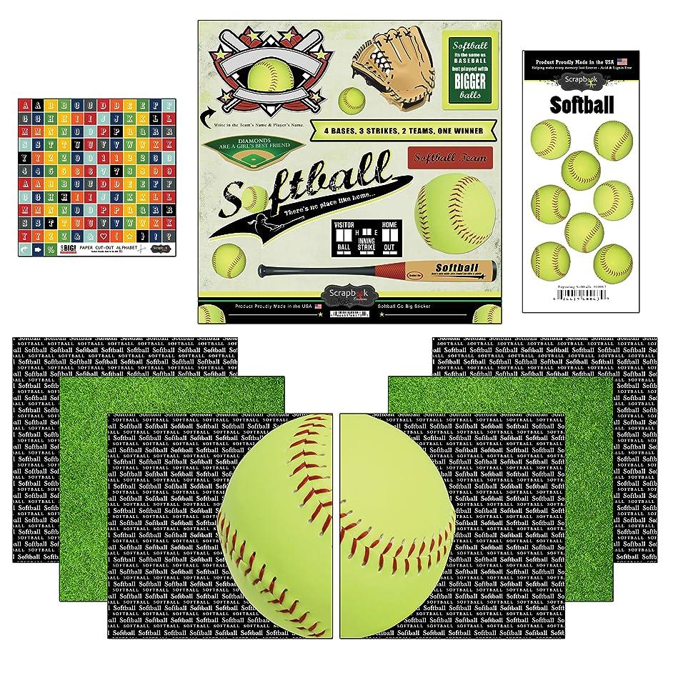 Scrapbook Customs Go Big Softball Themed Paper and Stickers Scrapbook Kit