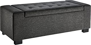 First Hill Calida Rectangular Storage Ottoman Bench with Fabric Upholstery, Large - Anchor Grey