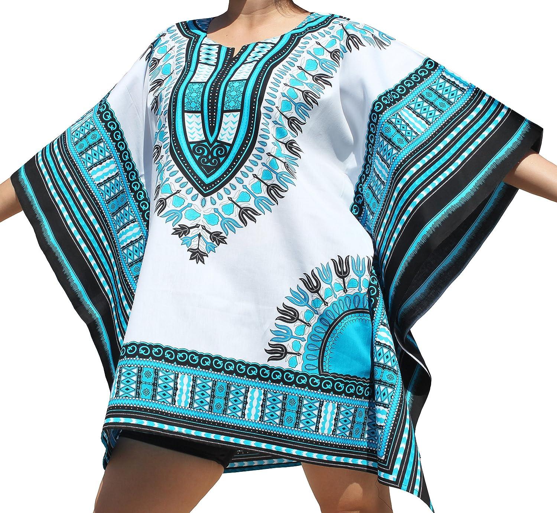 RaanPahMuang Brand Festival Shirt Batwing Flap Sides Bright Africa Dashiki Print, Medium, White Deep Sky bluee