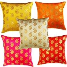 VIREO Pink Parrot Art Silk Cushion Cover, 12 x12 inches -Set of 5