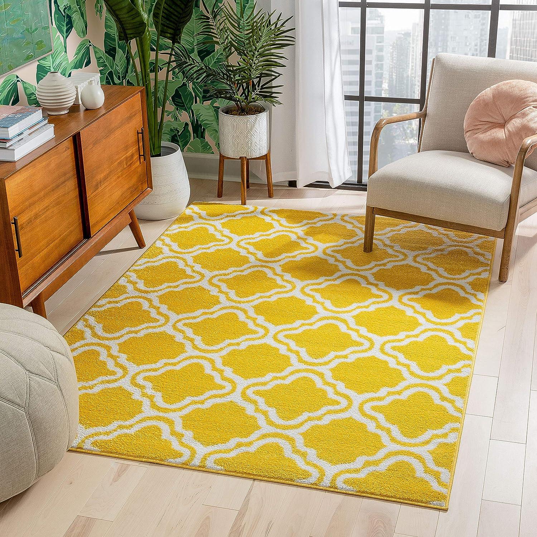 Modern Rug Daily bargain sale Calipso Yellow 3'3''x5' Accent Area Lattice Trellis Max 85% OFF R