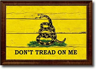 Don't Tread on Me Military Vintage Flag Canvas Print Home Decor Wall Art Gifts Signs Cards, Brown Frame, 27
