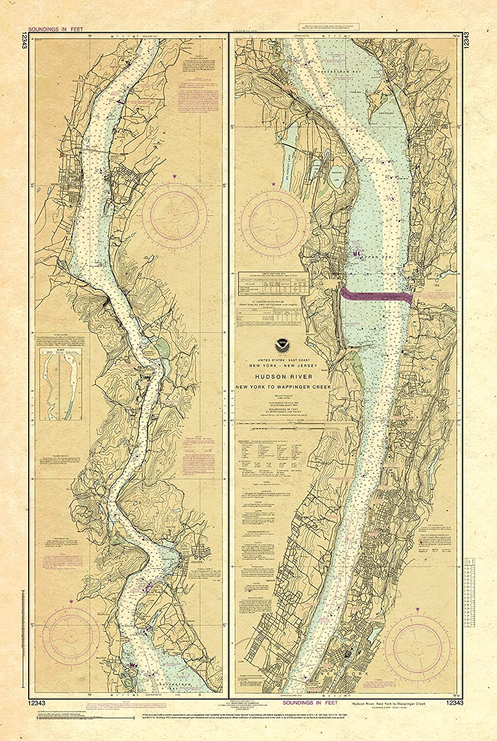 Limited time sale Paradise Cay Publications NOAA Chart Hudson 12343: River Yor Indianapolis Mall New