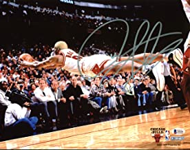 Bulls Dennis Rodman Authentic Signed Horizontal Diving 11X14 Photo BAS Witnessed