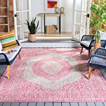 Safavieh Courtyard Collection CY8751-39712 Light Grey and Fuchsia Pink Indoor Outdoor Area Rug (5'3