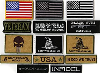 14pc Tactical Military Veteran Patriotic Patches | Don't Tread on Me | in God We Trust Religious | Velcro or Iron On | American Flag | Infidel | Punisher Skull |- by Nixon Thread Co. (Hook and Loop)