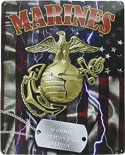 tiggersmall Marines Symbol w/Dog Tag Once A Marine Always A Marine Official USMC Metal Sign