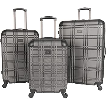 "Ben Sherman Nottingham 3-Piece Lightweight Hardside 4-Wheel Spinner Travel Luggage Set: 20"" Carry-On, 24"", & 28"", Charcoal"