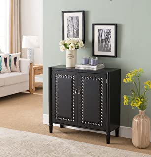 Kings Brand Furniture 2 Door Entryway Console Table Accent Cabinet, Black, Black