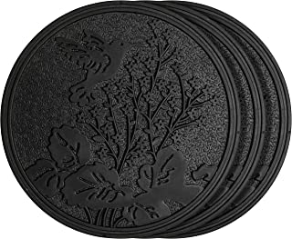 HF by LT Rubber Hummingbird Garden Stepping Stone, Black, 11-3/4 inches, Set of 3