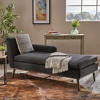 Christopher Knight Home Sophia Mid Century Modern Fabric Chaise Lounge, Muted Dark Grey/Walnut