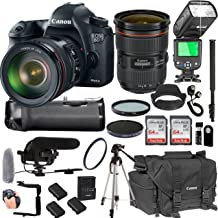 Canon EOS 6D Mark II with 24-70mm f/2.8 L II USM Lens + 128GB Memory + Canon Deluxe Camera Bag + Pro Battery Bundle + Power Grip + Microphone + TTL Speed Light + Pro Filters,(23pc Bundle)