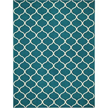 Maples Rugs Rebecca Contemporary Area Rugs for Living Room & Bedroom [Made in USA], 7 x 10, Teal/Sand
