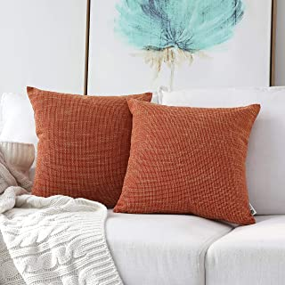"""Best Kevin Textile Decor Lined Linen Throw Pillow Cases Cushion Cover Pillow Covers for Chair, 18""""x18""""(2 Pack, Orange) Review"""