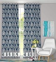 BLOCKS OF INDIA Cotton Abstract Door Curtain, 4 x 7 feet, Navy Blue, Set of 2