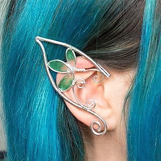 Indil earcuff, Orecchini elfici in filo wire argentato e foglie verdi, regina elfica, orecchie elfo per costumi, cosplay, ...