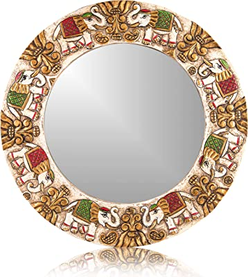Karigaari India Luxurious Collection Wall Mounted Decorative Fairy Tale Antique Shell Mirror Round Shape Wall Decor for for Living Room, Bedroom, Kids Room.