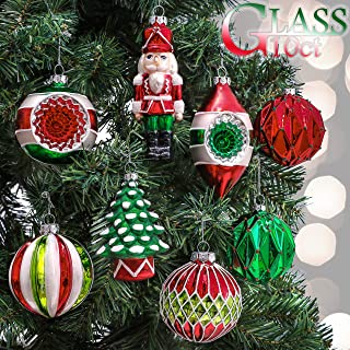 Valery Madelyn 10ct Classic Collection Splendor Glass Christmas Ball Ornaments Red,Green and White,Themed with Tree Skirt(Not Included)