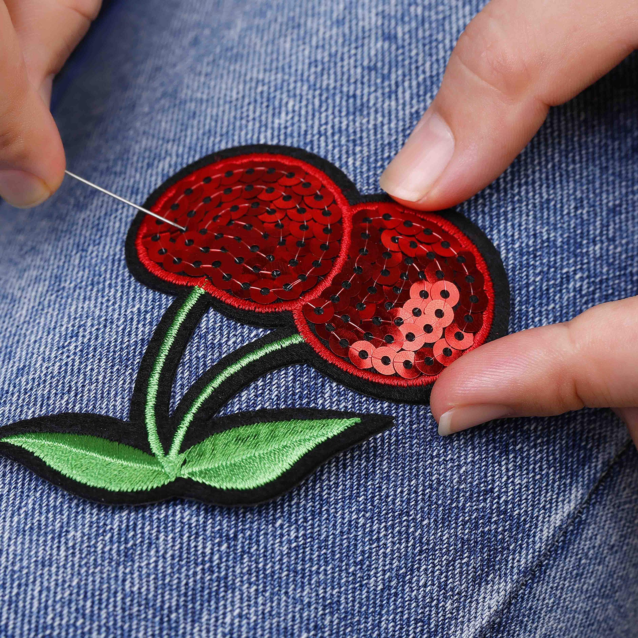 Iron on Patches 32 Pcs Stickers Cute DIY Clothes Patches Embroidery Applique for Sewing or Iron-on for T-Shirt Jean Clothes Bag Jacket, Backpack and Shoe