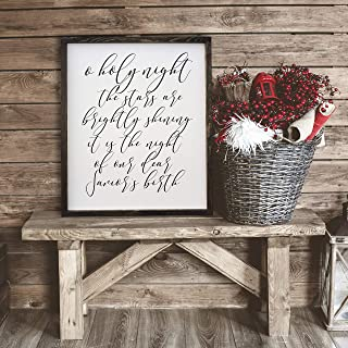 Silver8847 36x48 O Holy Night The Stars are Brightly Shining Christmas Hand Painted Wood Sign Farmhouse Style Rustic