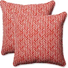 Pillow Perfect Outdoor | Indoor Herringbone Tomato 16.5 Inch Throw Pillow, 16.5 X 16.5 X 5, Red