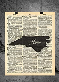 North Carolina State Vintage Map Vintage Dictionary Print 8x10 inch Home Vintage Art Abstract Prints Wall Art for Home Decor Wall Decorations For Living Room Bedroom Office Ready-to-Frame Home