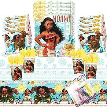Disney Moana Birthday Party Pack 16 PACK BONUS Great for kids Cups, Tablecover, Plates, Napkins + BONUS