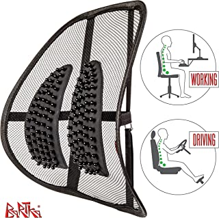 Comfortable Mesh Lumbar Support - Adjustable Breathable Seat Cushion - Orthopedic Lower Back Support - for All Office Chairs and Car Seats + Bonus Anti-Slip Car Mat…