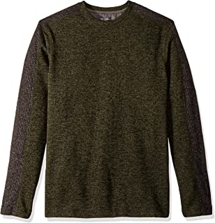 Men's Big and Tall Flex Long Sleeve Colorblock Crewneck Pullover Sweater