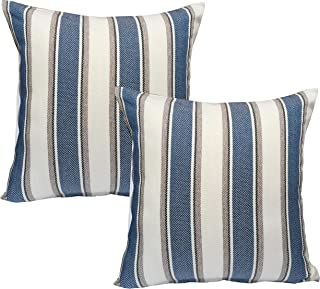 BLUETTEK Cool Stripe Pillow Cases Cotton Linen Square Decorative Throw Cushion Cover 18 Inches by 18 Inches (Blue-2Pc)