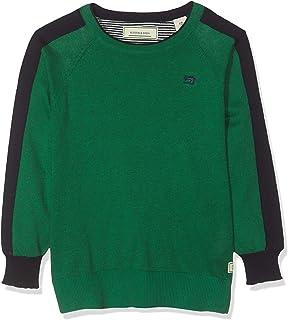 Scotch & Soda Basic Crewneck Pullover with Contrast At Sleeves Camiseta de Tirantes para Niños