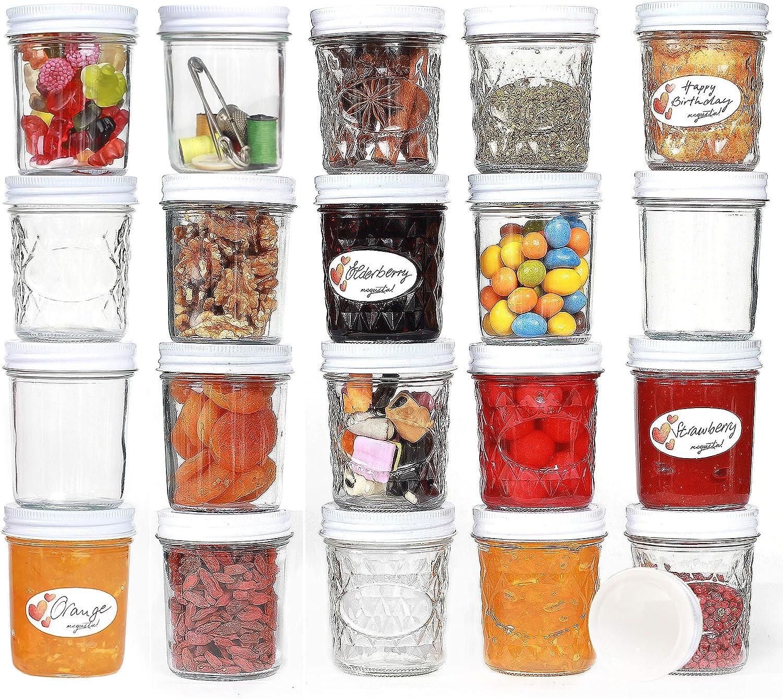 per marmellate 200 ml 20 etichette vetro trasparente coperchio a forma di cuore set di 20 alimenti per bambini megusta!/® Vasetti per conserve come regalo di compleanno per le donne