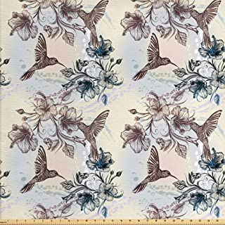 Ambesonne Hummingbird Fabric by The Yard, Birds and Hibiscus Flowers Nostalgia Antique Design Classical Print, Decorative Fabric for Upholstery and Home Accents, 2 Yards, Teal Brown