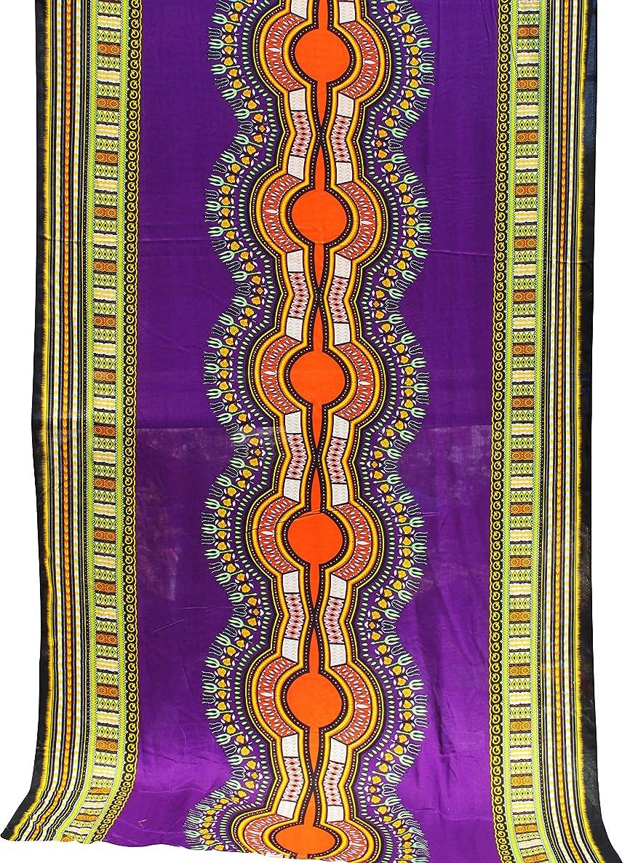 RaanPahMuang Light Viscose Bold Africa Boubou Dashiki Rayon Fabric 42in x 3yd Bolt, Purple homb8790657270