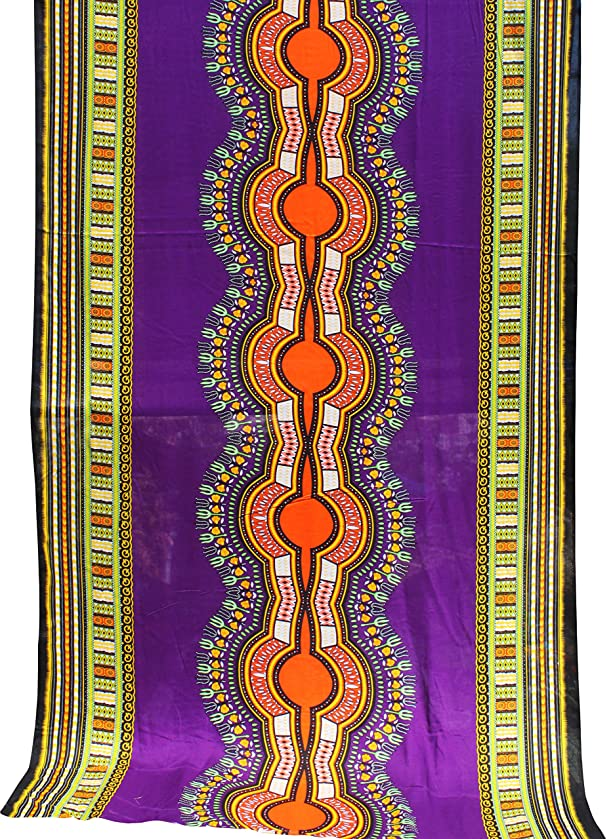 RaanPahMuang Light Viscose Bold Africa Boubou Dashiki Rayon Fabric 42in x 3yd Bolt, Purple